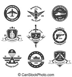 Monochrome Military Emblems Set