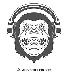 Monkey with headphones - Monochrome Monkey with headphones ...