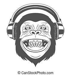 Monkey with headphones - Monochrome Monkey with headphones ...