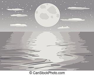 monochrome moon night sea