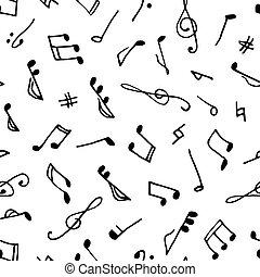 monochrome, musique, seamless, modèle