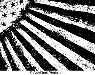 Monochrome Negative Photocopy American Flag Background. Grunge Aged Vector Template. Horizontal orientation.