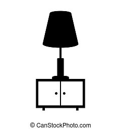 monochrome nightstand with lamp icon