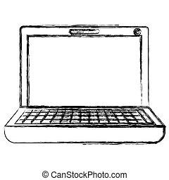 monochrome, ordinateur portatif, silhouette, brouillé