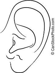 monochrome, oreille, vecteur, humain, illustration