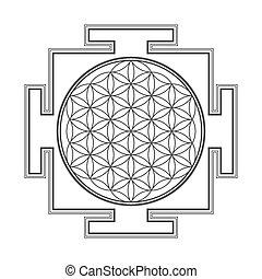 monochrome outline flower of life yantra illustration - ...