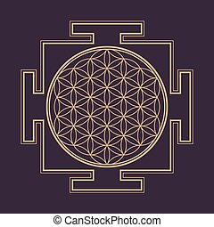 monochrome outline flower of life yantra illustration -...