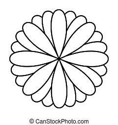 monochrome oval petals forming flower