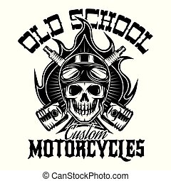 Monochrome pattern in vintage style on motorcycle theme with a skull and fire on background