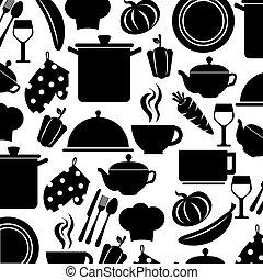 monochrome pattern with set of kitchen utensils