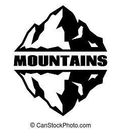 Monochrome pattern with three mountains. Vector illustration