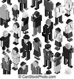 Monochrome People Seamless Pattern