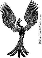 Monochrome phoenix - A black and white phoenix in a pose...