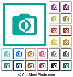Monochrome photos flat color icons with quadrant frames on...