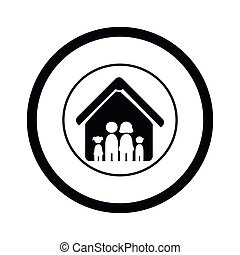 monochrome pictogram with family in house inside the circle