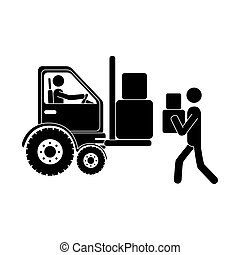 monochrome pictogram with forklift truck with forks and workers