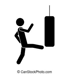 monochrome pictogram with man kicking a punching bag