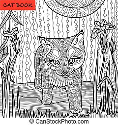 monochrome picture, coloring book for adults - cat book, doodle patterns, kitten among irises