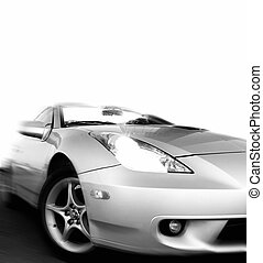 Monochrome picture of a fast sportcar isolated on white background