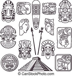 the gold vector mayan and inca tribal symbols