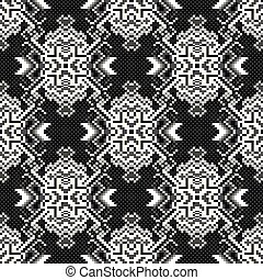 monochrome pixels on a black background seamless pattern