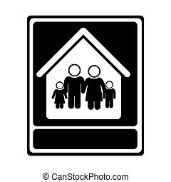 monochrome portrait of family in home