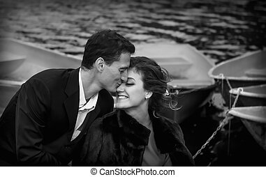 Monochrome Portrait Of Happy Couple