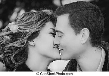 Monochrome Portrait Of Kissing Couple