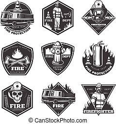 Monochrome Professional Firefighting Labels Set