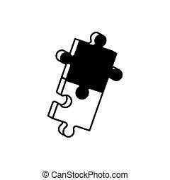monochrome, puzzle, solution, morceaux