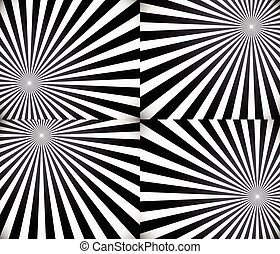 Monochrome rays, starburst background set