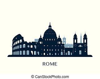monochrome, rome, horizon, silhouette.