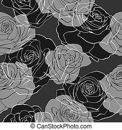 Monochrome rose flower bouquets contour elements seamless...