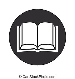 Monochrome Round Select Book Icon Image Of Open Book With