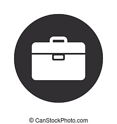 Image of briefcase in black circle, isolated on white