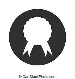 Monochrome round certificate seal icon