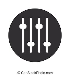 Monochrome round faders icon - Image of four console faders...