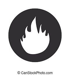 Monochrome round fire icon - Image of flame in black circle,...