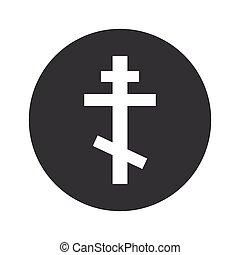 Monochrome round orthodox cross icon