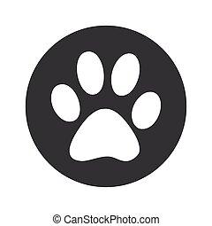 Monochrome round paw icon