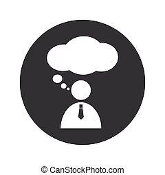 Monochrome round thinking person icon