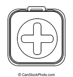 monochrome rounded square with first aid kit