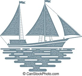 Monochrome sailing ship on a white background. Sailfish with red sail on the waves of the