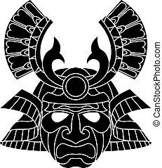 An illustration of a fearsome monochrome samurai mask