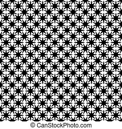 Monochrome seamless abstract geometric star pattern - vector background