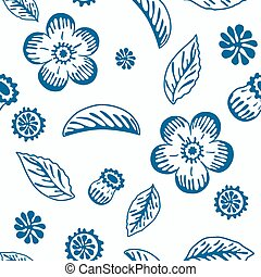 Monochrome seamless background with floral elements.