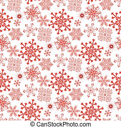 Monochrome seamless christmas pattern with red snowflakes