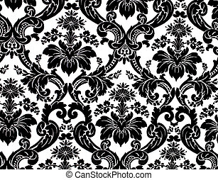 pattern - Monochrome seamless damask pattern. Nice to use as...