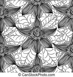 Seamless Floral Pattern - Monochrome Seamless Floral...