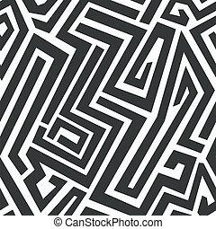 monochrome, seamless, labyrinthe, modèle